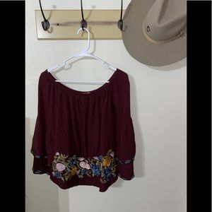 Maroon Embroidered Off the Shoulder Top